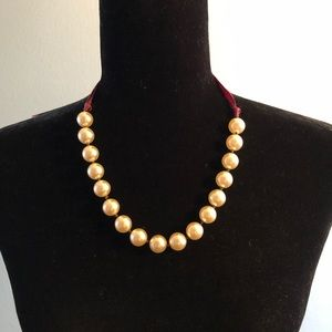 Jewelry - 4 for $10 Pearl Necklace with Maroon Ribbon Tie